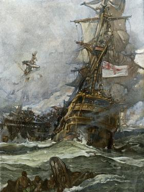 British Ship Brunswick in Battle with French Navy Off the Coast of Brittany