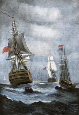 British Ships Blockading Chesapeake Bay at the Outset of the War of 1812