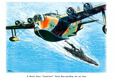 British Short Sunderland Flying Boat WWII War Propaganda Art Print Poster