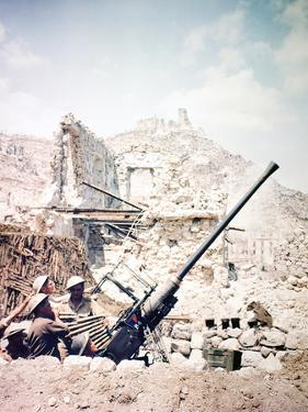 British Soldiers with a Bofors 40MM Anti-Aircraft Gun Below Monte Cassino, Italy, April 1944