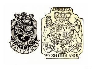 British Stamps for America Issued under the Stamp Act for a Half-Penny and Five Shillings