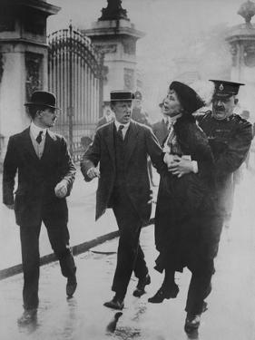 British Suffragette Emmeline Pankhurst Carried Away by a Policeman, June 2, 1914