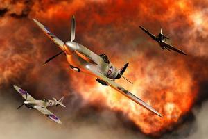 British Supermarine Spitfires Bursting Through Explosive Flames