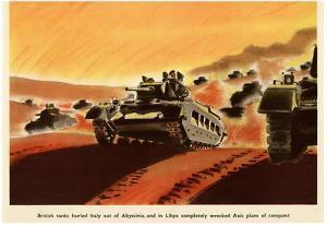 British Tanks WWII War Propaganda Art Print Poster