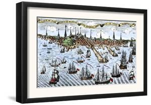 British Warships in Boston Harbor, 1774, an Attempt to Control the Angry Colonists in Massachusetts