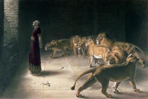 Daniel in the Lions Den, Mezzotint by J. B. Pratt, with Hand Colouring by Briton Rivi?re