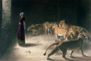 Daniel in the Lions Den, Mezzotint by J. B. Pratt, with Hand Colouring by Briton Rivi?re