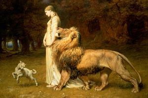 Una and the Lion, from Spenser's Faerie Queene, 1880 by Briton Rivi?re
