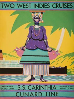 Brochure Cover for 'Two West Indies Cruises' on Board the S.S. 'Carinthia', 1929