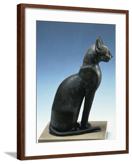 Bronze Figure of Seated Cat, from Saqqara--Framed Giclee Print