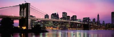 Brooklyn Bridge across the East River at Dusk, Manhattan, New York City, New York State, USA