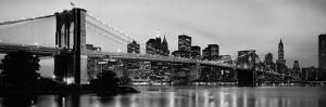 Brooklyn Bridge across the East River at Dusk, Manhattan, New York City, New York State, USA