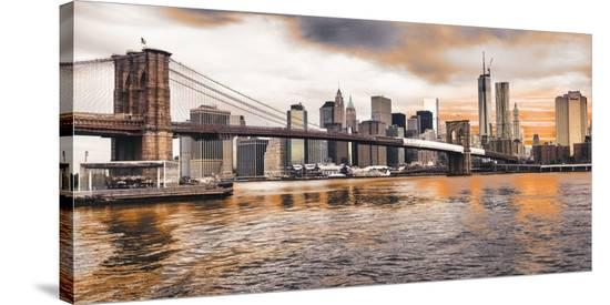 Brooklyn Bridge and Lower Manhattan at sunset, NYC-Pangea Images-Stretched Canvas Print