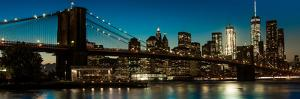 Brooklyn Bridge and Manhattan Skyline, NY, NY at Sunset