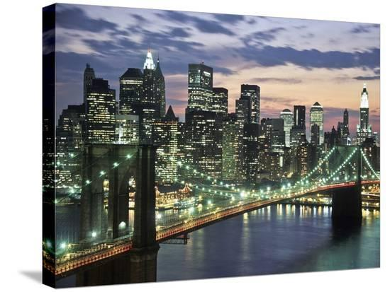 Brookyn bridge and Downtown skyline, NYC-Michel Setboun-Stretched Canvas Print