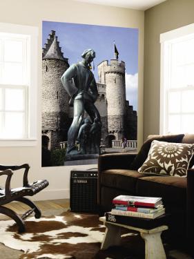 Statue of Lange Wapper in Front of Het Steen-The 13th Century Castle. by Bruce Bi