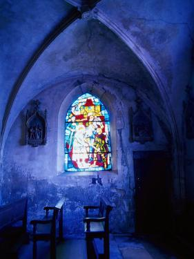 Jean D'Arc Stained Glass in Church, France by Bruce Clarke