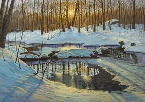 Winter Brook Sunset by Bruce Dumas