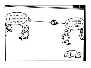 """Boy and girl in a playground. Girl with thought balloon that reads, ' wond…"""" - New Yorker Cartoon by Bruce Eric Kaplan"""