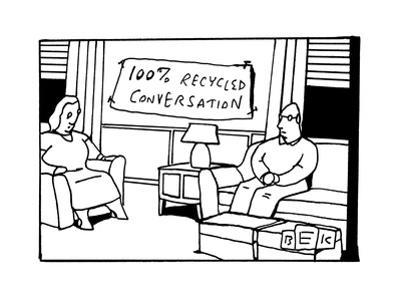 In the living room of a bored-looking married couple, a hanging sign reads... - New Yorker Cartoon