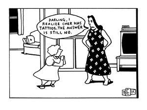 """Mother says to young daughter who has her hands clasped together, """"Darling…"""" - New Yorker Cartoon by Bruce Eric Kaplan"""