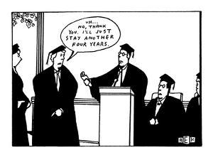 "Student refuses diploma at graduation and says, ""Uh...No, thank you. I'll ?"" - New Yorker Cartoon by Bruce Eric Kaplan"