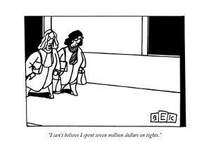 Two women walking down a street. - New Yorker Cartoon by Bruce Eric Kaplan
