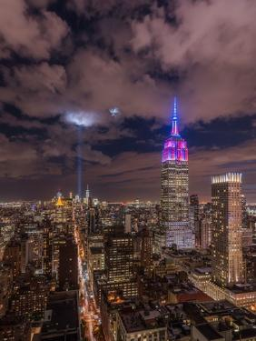 The Crescent Moon with the Tribute Lights by Bruce Getty