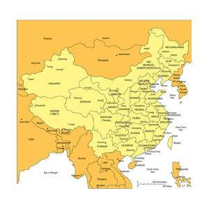 China With Administrative Districts And Surrounding Countries by Bruce Jones
