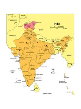 India With Administrative Districts And Surrounding Countries by Bruce Jones