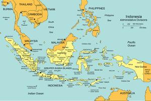 Indonesia With Administrative Districts And Surrounding Countries by Bruce Jones