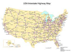 Usa With Interstate Highways, States And Names by Bruce Jones