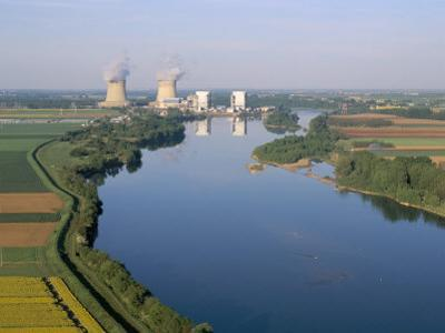 Aerial View of River and Countryside Near the Nuclear Power Station of Saint Laurent-Des-Eaux by Bruno Barbier