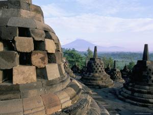 Arupadhatu View, 8th Century Buddhist Site of Borobudur, Unesco World Heritage Site, Indonesia by Bruno Barbier