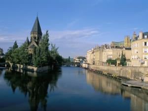 Banks of the Moselle River, Old Town, Metz, Moselle, Lorraine, France by Bruno Barbier