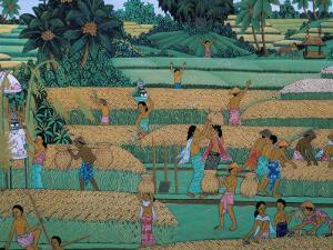 Painting of People Harvesting in Rice Fields, Neka Museum, Ubud, Island of Bali, Indonesia by Bruno Barbier