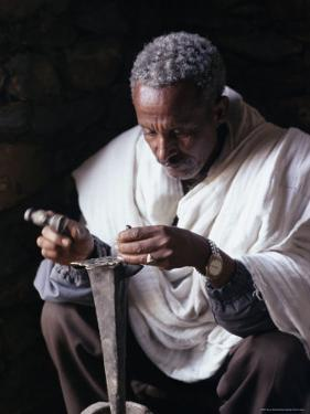 Portrait of a Blacksmith at Work, Town of Axoum (Axum) (Aksum), Tigre Region, Ethiopia, Africa by Bruno Barbier