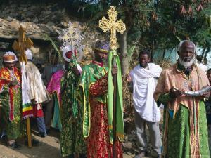 Procession of Christian Men and Crosses, Rameaux Festival, Axoum, Tigre Region, Ethiopia by Bruno Barbier