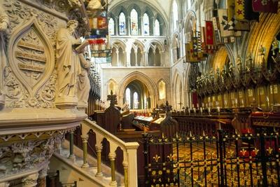 The Choir and Banners, St. Patrick's Cathedral, Dublin, County Dublin, Eire (Ireland)