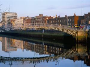 The Ha'Penny Bridge Over the Liffey River, Dublin, County Dublin, Eire (Ireland) by Bruno Barbier