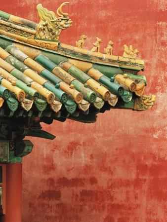 Roof Decoration on Building in Forbidden City by Bruno Ehrs