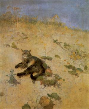Cat Basking in the Sun, 1884 by Bruno Liljefors