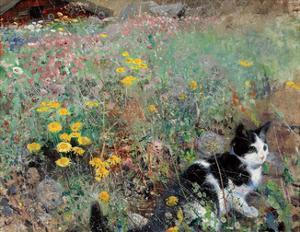 Cat on a Flower Bed, 1887 by Bruno Liljefors