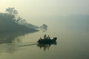 Boat on the Hooghly River, Part of Ganges River, West Bengal, India, Asia by Bruno Morandi