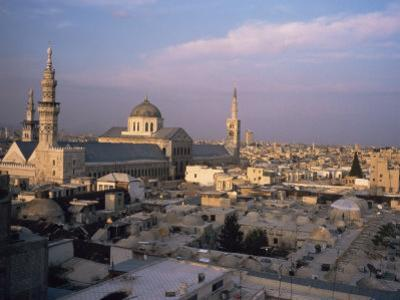 City Skyline Including Omayyad Mosque and Souk, Damascus, Syria, Middle East