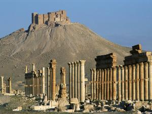 Grand Colonnade and the Arab Castle, Palmyra, Unesco World Heritage Site, Syria, Middle East by Bruno Morandi