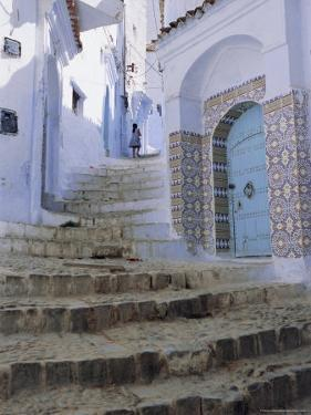 Houses and Steps in Chefchaouen (Chaouen) (Chechaouen), Rif Region, Morocco, Africa by Bruno Morandi