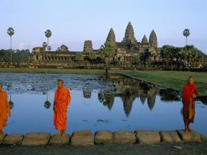 Monks in Saffron Robes, Angkor Wat, Unesco World Heritage Site, Siem Reap, Cambodia, Indochina by Bruno Morandi