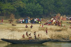 Village on the Bank of the Hooghly River, Part of the Ganges River, West Bengal, India, Asia by Bruno Morandi