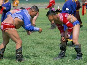 Wrestling Match, Naadam Festival, Oulaan Bator (Ulaan Baatar), Mongolia, Central Asia by Bruno Morandi